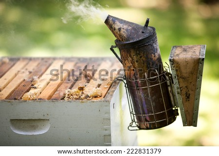 Smoker beekeepers tool used to keep bees away from hive - stock photo