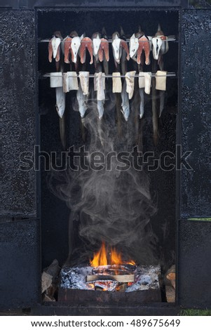 smoker with fish