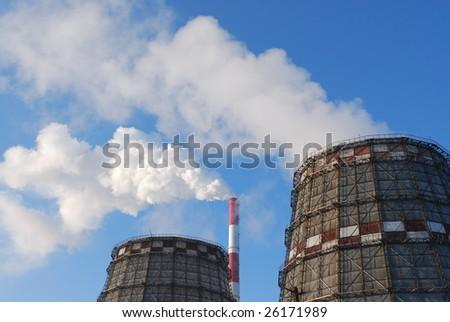 smokestack and white smoke - stock photo