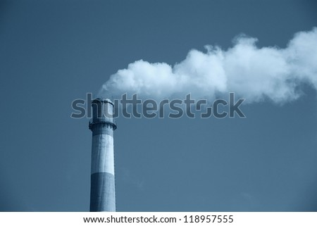 Smokestack Pollution in the air - stock photo