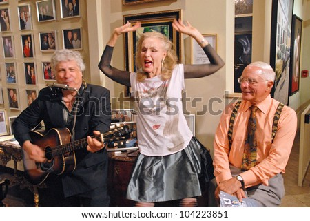 """Smokey Miles performs for Julie Newmar and her brother EXCLUSIVE at Julie Newmar ~A Life in Motion"""" at the David  W. Streets Gallery, Beverly Hills, CA. 11-08-09 - stock photo"""
