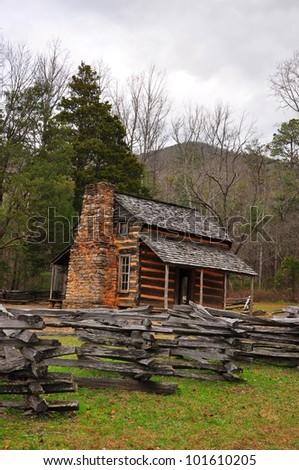Smokey Mountains Cades Cove - Old House - stock photo
