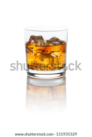 Smokey Scotch Whiskey on the rocks with a nice refection. Isolated on white with clipping path. - stock photo