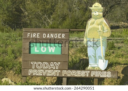 Smokey the Bear's US Forestry sign reading that there is a Low Risk of a forest fire today, Las Padres National Forest, Ventura County, California. - stock photo