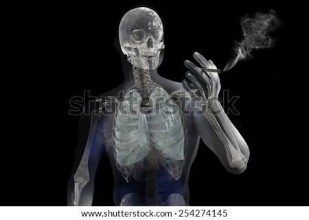 Smoking anatomical vision - stock photo