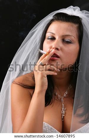 Smoking bride - stock photo