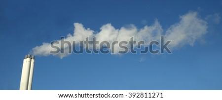Smoking chimney, industrial chimney - stock photo