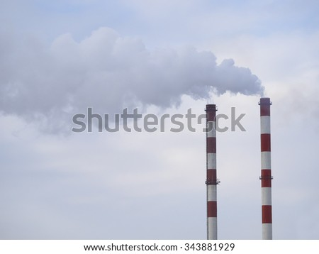 Smoking chimney pollution air - stock photo