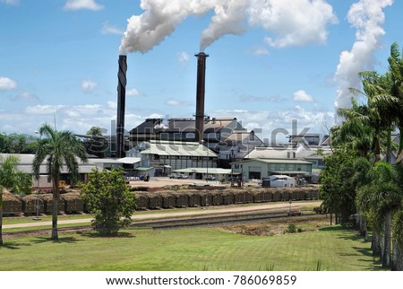 Smoking chimneys of Tully Sugar Mill - Australia. Viewed from the side with palm trees and fresh cut lawn in foreground on sunny day