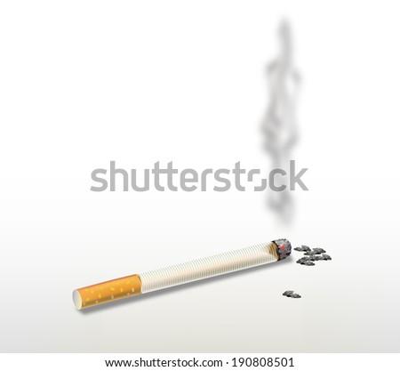 Smoking cigarette . - stock photo