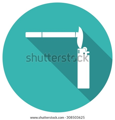 Smoking cigarette flat design with long shadow. - stock photo