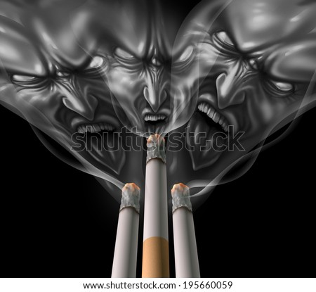 Smoking cigarette health crisis concept as a medical symbol of a tobacco product as second hand smoke shaped as a group of evil monsters as the grim reaper for lung cancer and addiction to nicotine. - stock photo