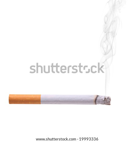 Smoking cigarette isolated against white background - stock photo