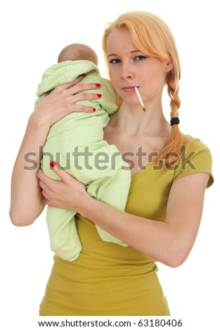 smoking cigarette mother with three months old son - stock photo