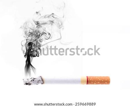 smoking cigarette on white background - stock photo