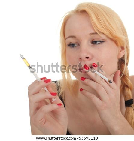 smoking drug addict young woman with syringe - stock photo