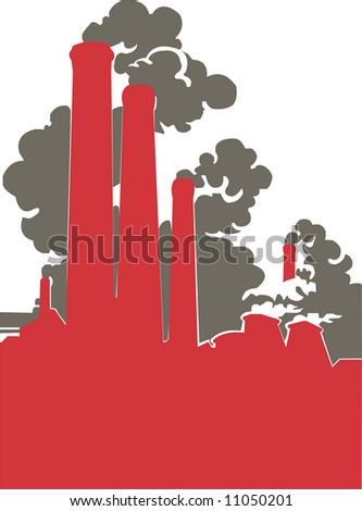 Smoking factory that deals a lot of damage to our environment - stock photo