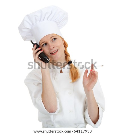 smoking female cook speaking on the phone - stock photo