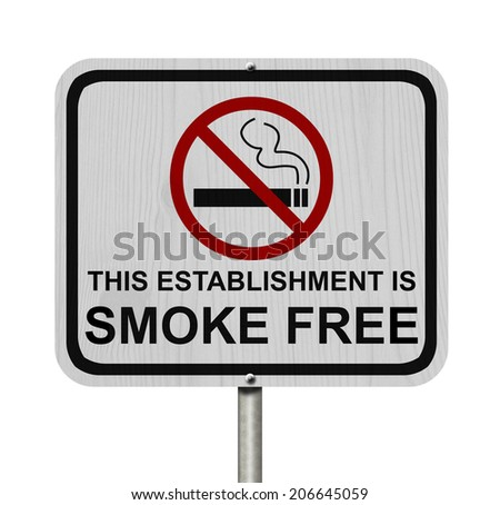 Smoking Free Establishment Sign, An red road sign with cigarette icon and not symbol with text isolated on white - stock photo