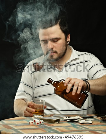 Smoking Gambler with Cards