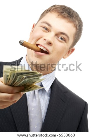 smoking gangster holding dollar bills over white - stock photo