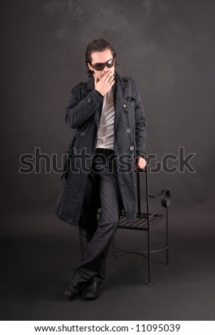 smoking guy with chair