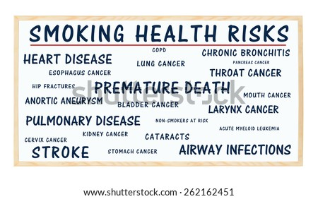 Smoking Health Risks blackboard: Heart, Pulmonary Disease, Stroke, Airway Infections, Bronchitis, Aneurysm, Bladder, Esophagus, Throat, Lung, Mouth, Cervix Cancer, Non-Smokers at Risk, Cataracts - stock photo