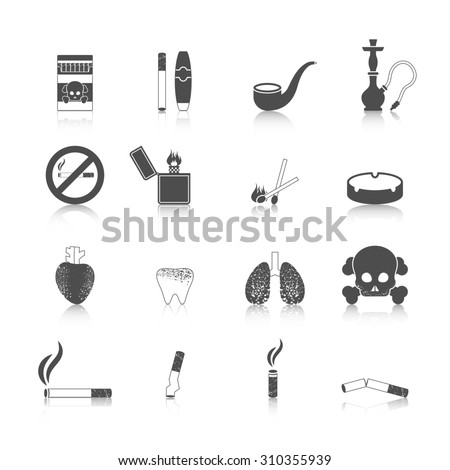 Smoking icon black set with cigarette cigar skull and crossbones isolated  illustration - stock photo