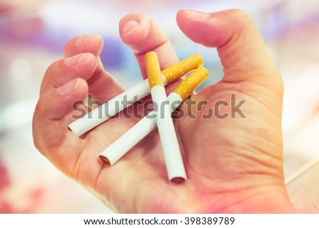 Smoking is dangerous to your health and those around you is a kind of substance abuse, the risk of cancer. - stock photo