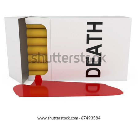 Smoking is Death isolated on white - 3d illustration - stock photo