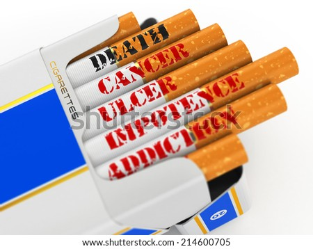 Smoking kills. Cigarette pack with text cancer and death. 3d - stock photo