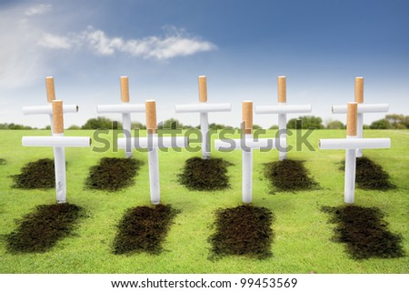 smoking kills concept with cigarette - stock photo