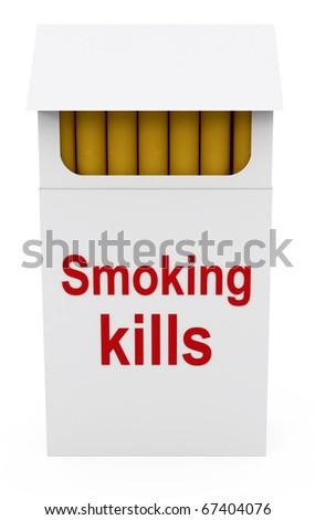 Smoking kills on Cigarettes Packet - 3d illustration - stock photo