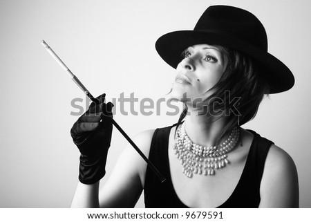 Smoking lady - stock photo