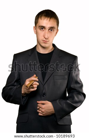 smoking man in business suit,isolated