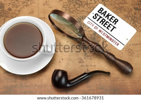 Smoking Pipe, Vintage Magnifier, Full Teacup On The Old World  Map. Travel Or Investigation Or Sherlock Holmes Concept. Overhead View - stock photo