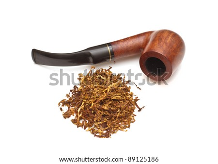 Smoking pipe with tobacco, isolated - stock photo