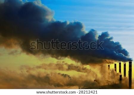 Smoking plant with brown smog - stock photo