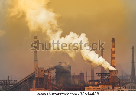 Smoking plant with white smog. environment concept