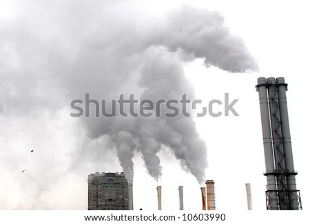 Smoking plants of the factory - stock photo