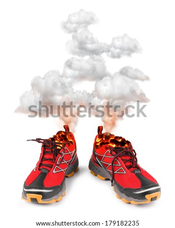 Smoking red hot running sport shoes isolated on white background  - stock photo