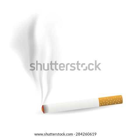 Smoking Single Cigarette Isolated on White Background - stock photo