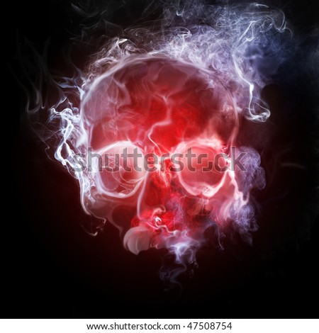 smoking skull - stock photo