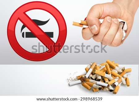 Smoking, smoke, stop. - stock photo