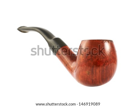 Smoking tobacco pipe isolated over white background - stock photo