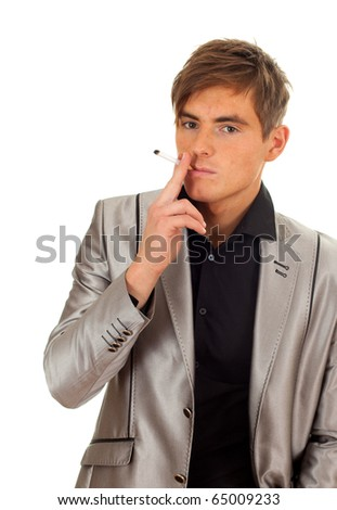 smoking young handsome man in grey suit