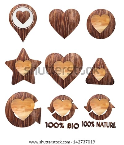 Smoky black  sustainable eco 3d graphic with natural heart icon set of wooden 3d buttons - stock photo