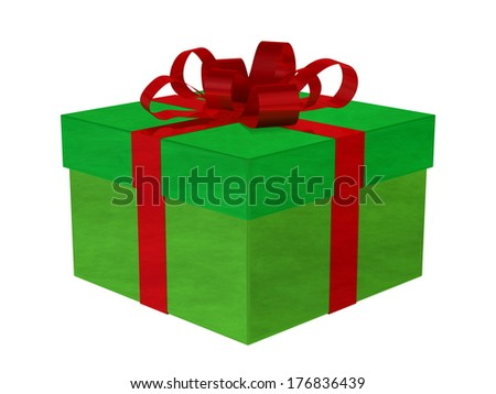 Smoky green gift box with red bow isolated on white