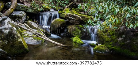 Smoky Mountain Waterfall Panorama. Double waterfall in the Great Smoky Mountains National Park on the Little River Road in panoramic orientation. Gatlinburg, Tennessee. - stock photo