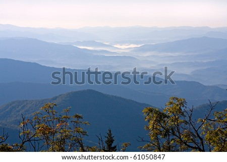 Smoky Mountains from Clingman's Dome. - stock photo
